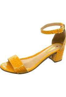 Sandalia Mariha Calçados Salto Bloco Croco Mostarda - Kanui