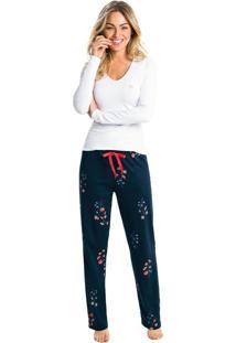 Pijama Longo Suedine Feminino - Branco - Gg