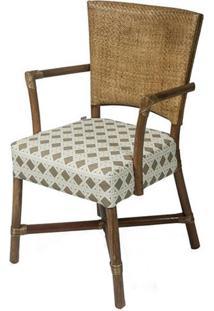 Cadeira Flint Com Braco Assento Sarja Sextavada Com Base Madeira Apui - 44724 - Sun House