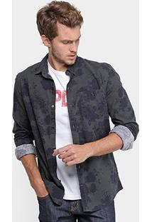 Camisa Replay Tricoline Flowers Masculina - Masculino
