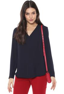 Blusa Banana Republic Long-Sleeve V-Neck Azul-Marinho