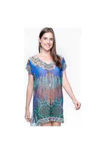 Saida De Praia 101 Resort Wear Crepe Blusa Tunica Estampada Azul.