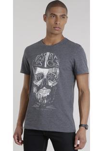 Camiseta Caveira Cinza Mescla Escuro