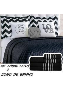 Kit Combo Cobre Leito C/ Jogo De Banho Isabela Preto/Cinza Queen 13 Peças.