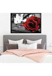 Quadro Love Decor Com Moldura Rose On The Floor Preto Grande