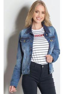Jaqueta Jeans Azul Sawary Com Bolsos
