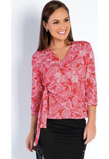 Blusa Justa Arabesco Vermelha Moda Evangélica