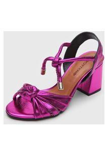 Sandália Bottero Metalizada Rosa