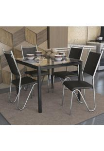Conjunto Kappesberg Crome Mesa Reno Tampo De Vidro Com 4 Cadeiras Londres