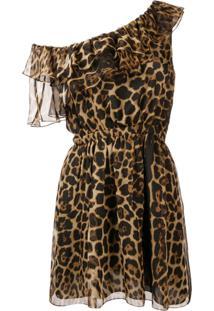 Saint Laurent Vestido Com Animal Print - Marrom
