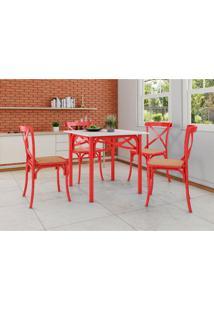 Conjunto De Mesa De Jantar Com 4 Cadeiras E Tampo De Madeira Katrina Vermelho