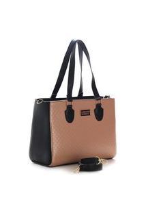 Bolsa Feminina Bicolor Santorini Handbag Preto/Nude