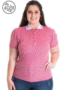 Camisa Polo Konciny Feminina Plus Size Piquet Estampado 96802 Vermelho