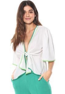 Blusa Colcci Neon Amarração Off-White/Verde