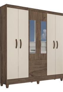 Guarda Roupa Real 6 Portas C/ Espelho Mocaccino Rústico/Natura Off White Atualle Móveis