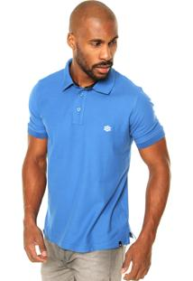 Camisa Polo Zebra Cone Pique Azul