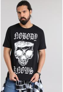 Camiseta Caveira Preta