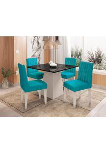 Conjunto De Mesa De Jantar Com Tampo De Vidro Jasmin E 4 Cadeiras Ana Veludo Nero E Turquesa