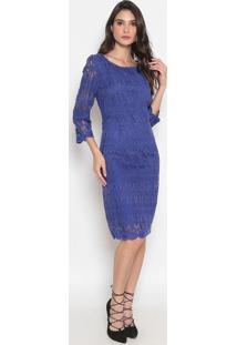 Vestido Em Renda- Azul Marinho- Cotton Colors Extracotton Colors Extra