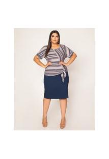 Blusa Almaria Plus Size Pianeta Azul Marinho
