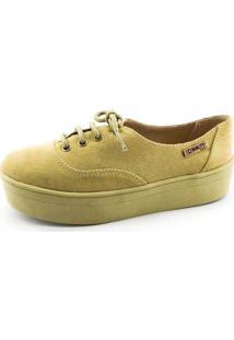 Tênis Flatform Quality Shoes Feminino 005 Camurça E Sola Caramelo 35