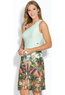Vestido Assimétrico Com Alça E Argola Tropical