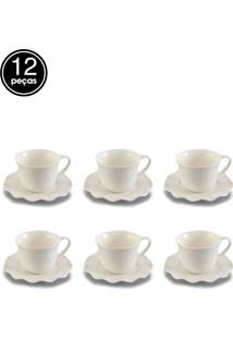 Jogo De 12 Pçs Xícaras Para Chá Com Pires De Porcelana Princess 200Ml Lyor
