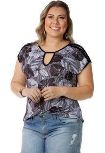 Blusa Femina Plus Size Decote V Preta