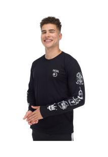 Camiseta Manga Longa Estampada 22244 - Masculina - Preto