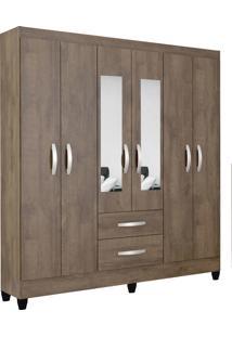 Guarda Roupa Real 6 Portas C/Espelho Mocaccino Rústico Atualle - Tricae