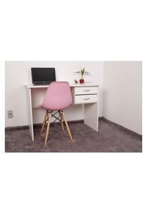 Kit Escrivaninha Com Gaveteiro Branca + 01 Cadeira Charles Eames - Rosa