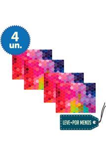 Jogo Americano 4 Peças Em Mdf Articulado Favos Coloridos - Cia Laser