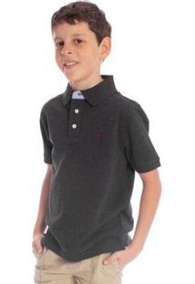 Camisa Polo Infantil Lisa Aleatory Masculina - Masculino-Chumbo
