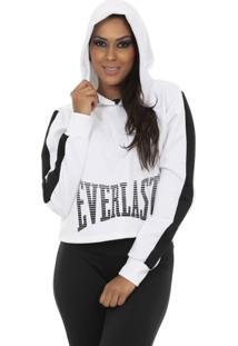Blusão Everlast Capuz Bicolor Logo Everlast Branco