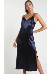 Vestido Slip Dress Feminino Mindset Bbb Midi Acetinado Com Renda E Fenda Alça Fina Azul Escuro