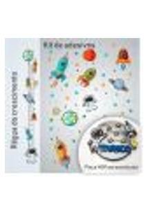 Kit Com Adesivos, Régua E Placa Personalizada Mdf Astronauta