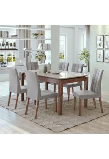 Conjunto De Mesa De Jantar Áries Com 6 Cadeiras Estofadas Odara Linho Off White E Cinza