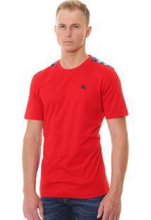 Camiseta Burberry Masculina London England Detail Tartan Vermelha