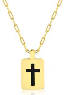 Corrente Ellum Acessórios Cruz Obsidiana Negra Dourada