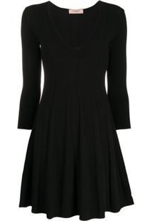 Twin-Set Pleated Fine Knit Dress - Preto