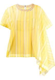 Sacai Blusa Assimétrica Listrada - Amarelo