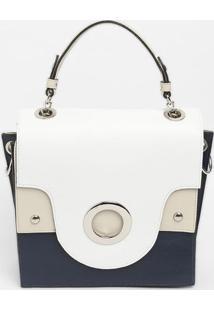 Bolsa Com Lapelas - Azul Marinho & Branca - 21X32X1Griffazzi