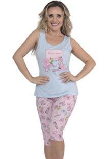 Pijama De Verão Regata E Capri Da Victory Feminino - Feminino-Azul Claro