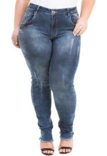 Calça Jeans Feminina Confidencial Extra Cropped Duo Dark Com Elastano Plus Size - Feminino-Azul Escuro