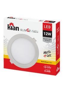 Luminária De Embutir Kian Redondo Led Slim Alt: 2Cm Comp.: 16,8Cm 12W 3000K Amarela.