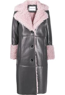 Stand Linda Leather Look Shearling Coat - Cinza