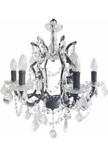 Lustre Premier Iluminação Shine Cristal E Metal Preto