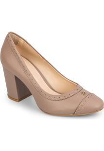 Sapato Tradicional Com Microfuros - Bege Escuro- Salcapodarte