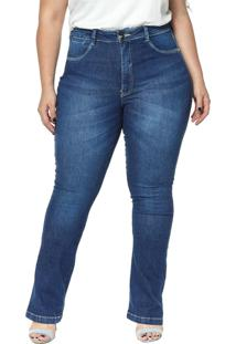 Calça Jeans Denuncia Boot Cut Lipo Z Plus Size 201324247 Azul