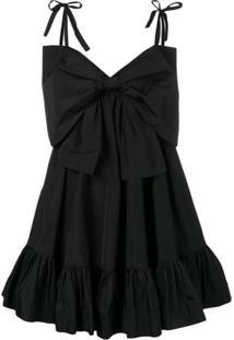 Msgm Oversized Bow Dress - Preto